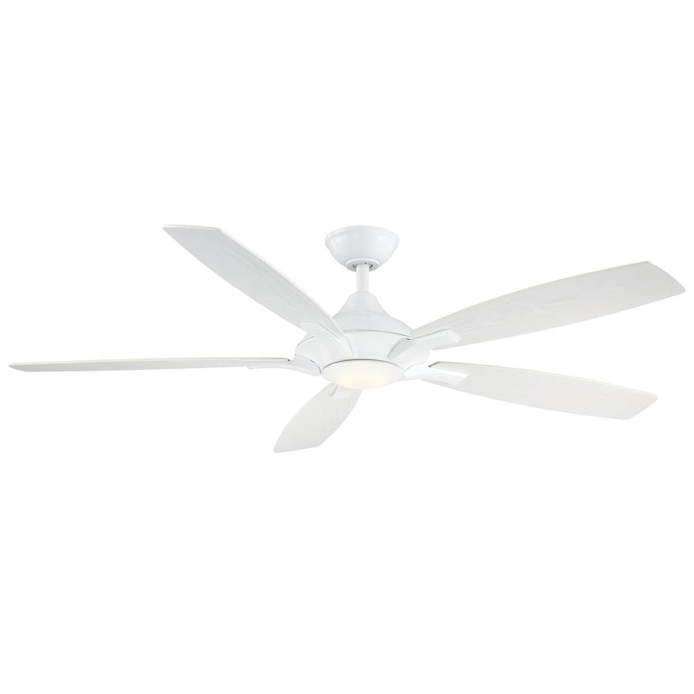 Home Decorators Collection Petersford 56 in. Integrated LED Indoor White Ceiling Fan with Light Kit and Remote Control