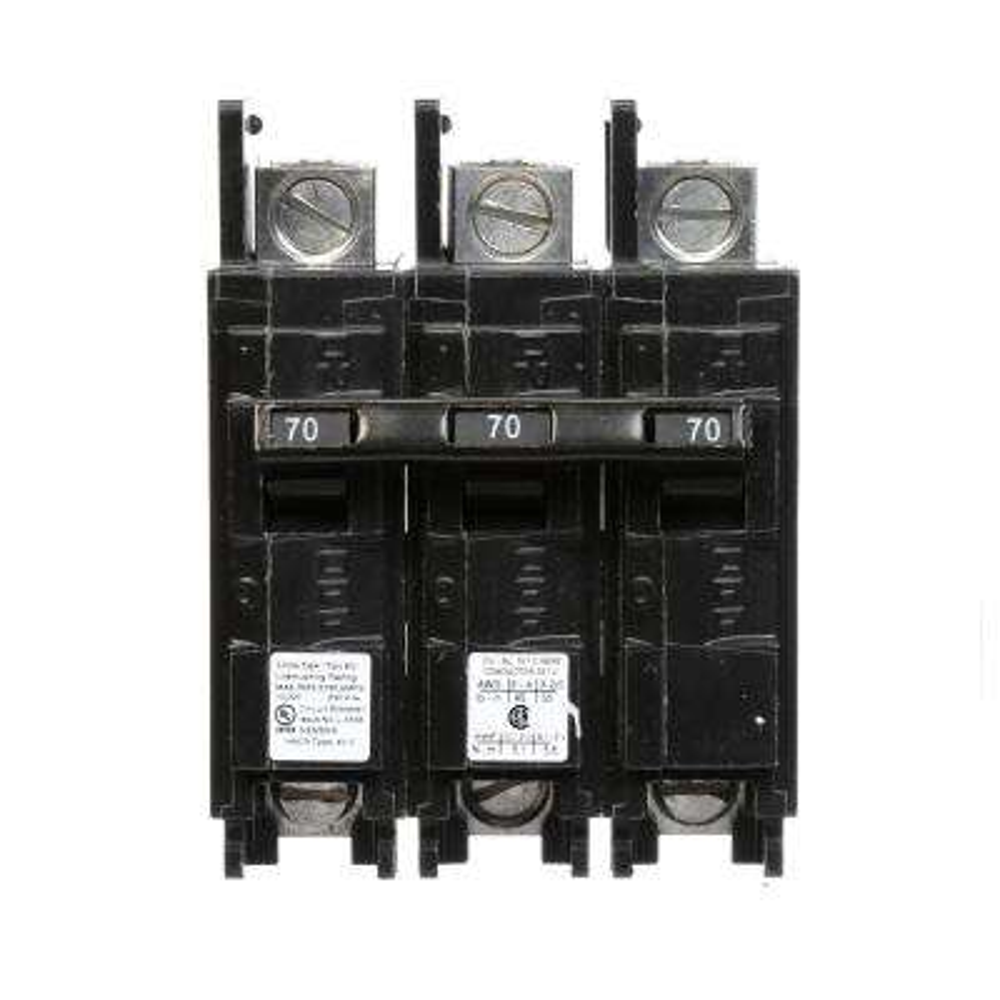 70 Amp 3-Pole BQ 10 kA Lug-In/Lug-Out Circuit Breaker with Side Lugs