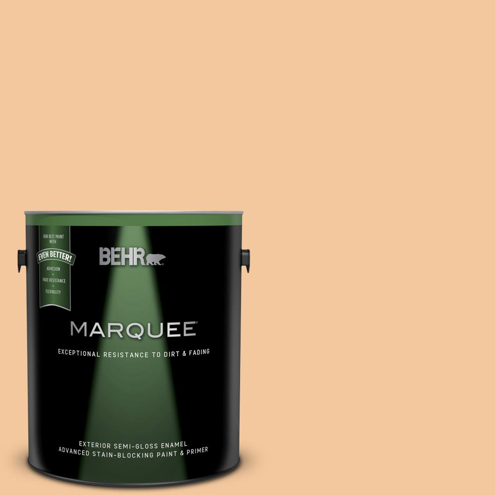 BEHR MARQUEE 1 gal  #M240-4 Sheer Apricot Semi-Gloss Enamel Exterior Paint  and Primer in One