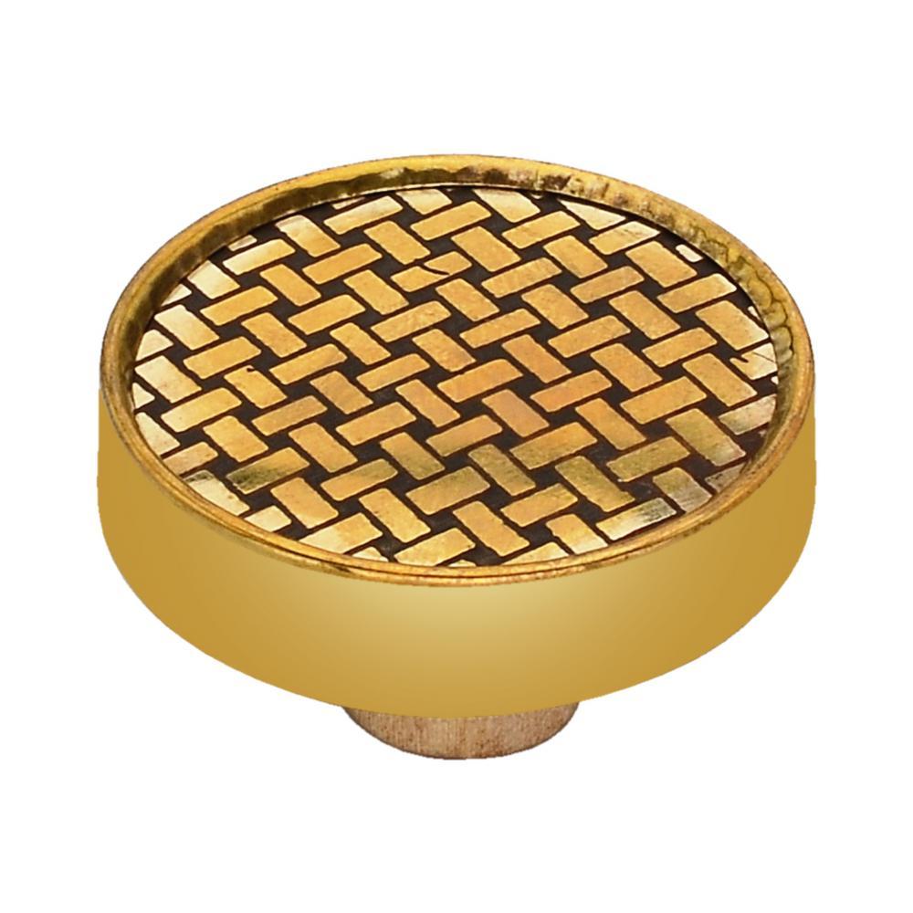 Basketweave 1-3/5 in. Red Cabinet Knob