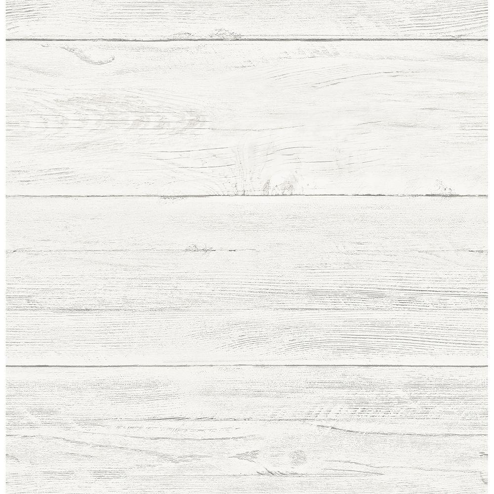 Brewster Brewster 56.4 sq. ft. Colleen White Washed Boards Wallpaper, Ivory