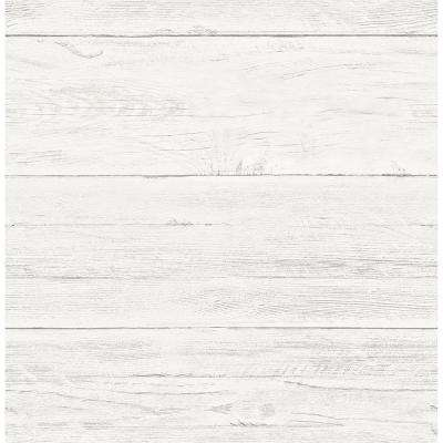 Cream White Washed Boards Shiplap Wallpaper
