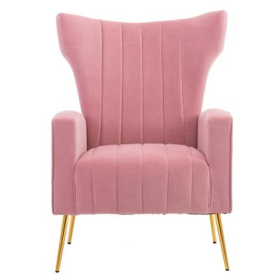 Pink Modern Accent Fabric Chair Single Sofa Comfy Upholstered Arm Chair Living Room Furniture