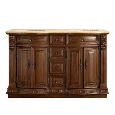 D Vanity In Brazilian Rosewood With Stone