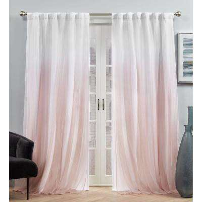 Crescendo Blush Blackout Hidden Tab Top Curtain Panel 54 in. W x 84 in. L (2 Panels)