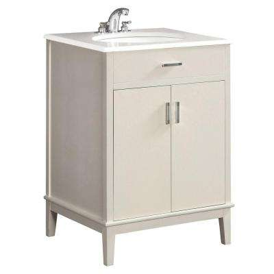 Urban Loft 24 in. Bath Vanity in Soft White with Engineered Quartz Marble Vanity Top in White with White Basin