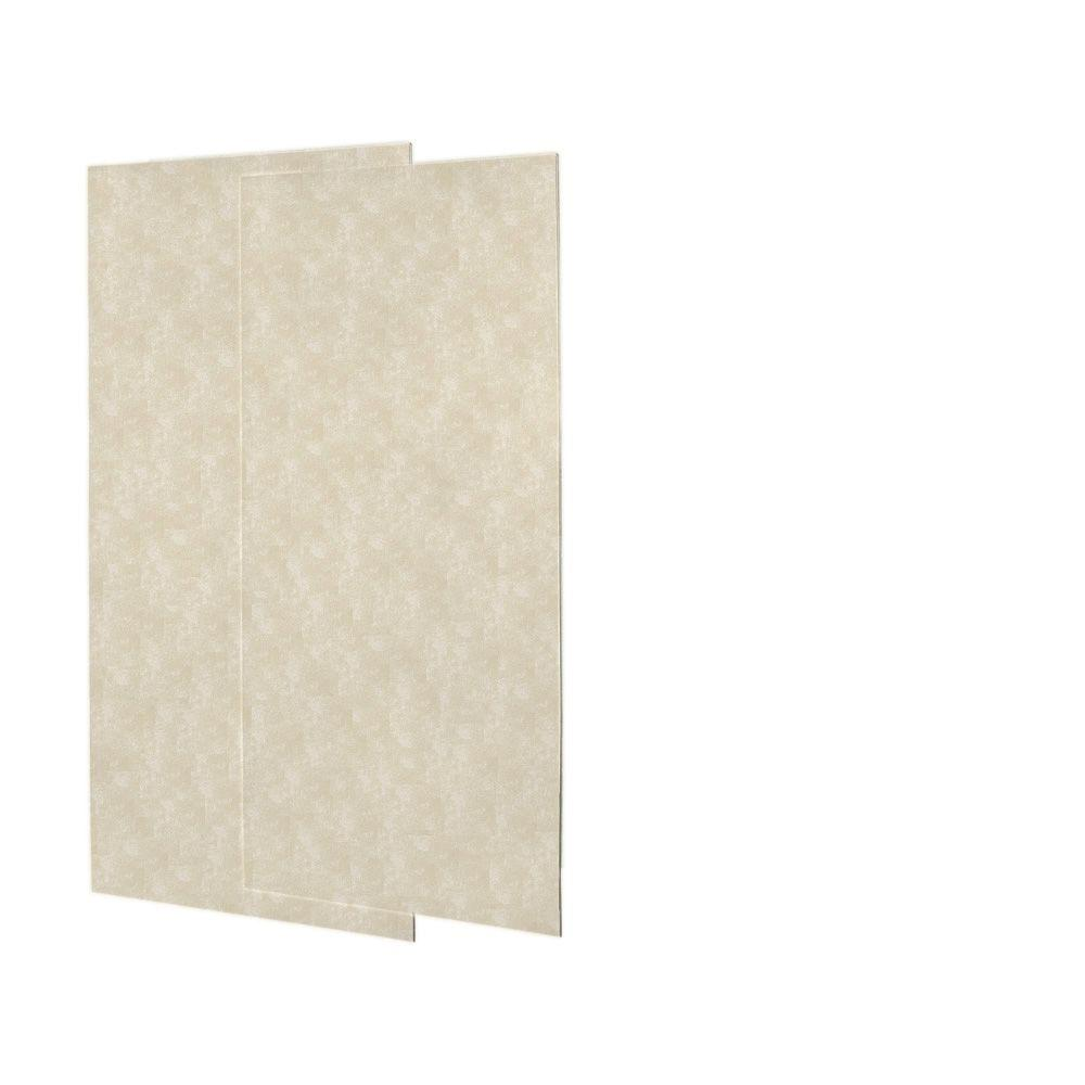 Swanstone 1/4 in. x 36 in. x 72 in. Two Piece Easy Up Adhesive Shower Wall Panels in Cloud Bone-DISCONTINUED