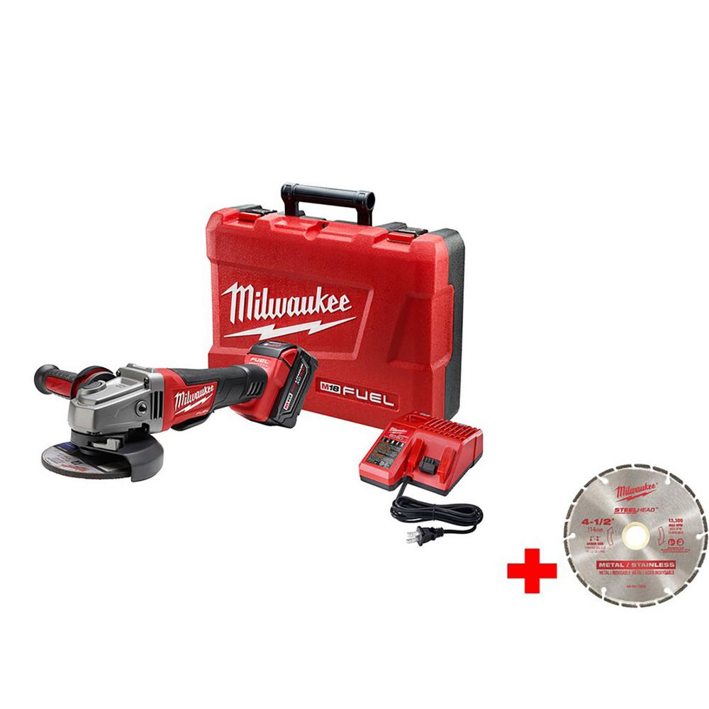 M18 FUEL 18-Volt Lithium-Ion Brushless 4-1/2 in. /5 in. Grinder, Paddle