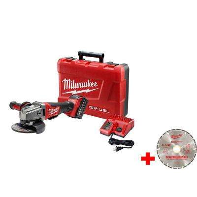 M18 FUEL 18-Volt Lithium-Ion Brushless 4-1/2 in. /5 in. Grinder, Paddle Switch No-Lock Kit w/ 4-1/2 in. Diamond Blade
