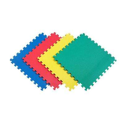 Reversible Multi-Purpose 24 in. x 24 in. Interlocking Multi-Color Foam Flooring Recyclamat (4-Pieces)