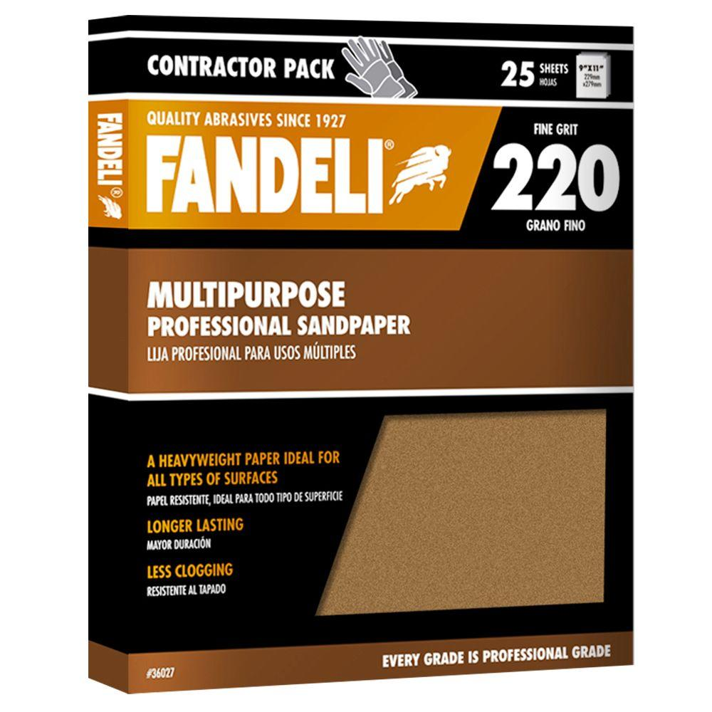 Fandeli 9 in. x 11 in. 220 Grit Fine Premium Aluminum Oxide Sandpaper (25-Pack)