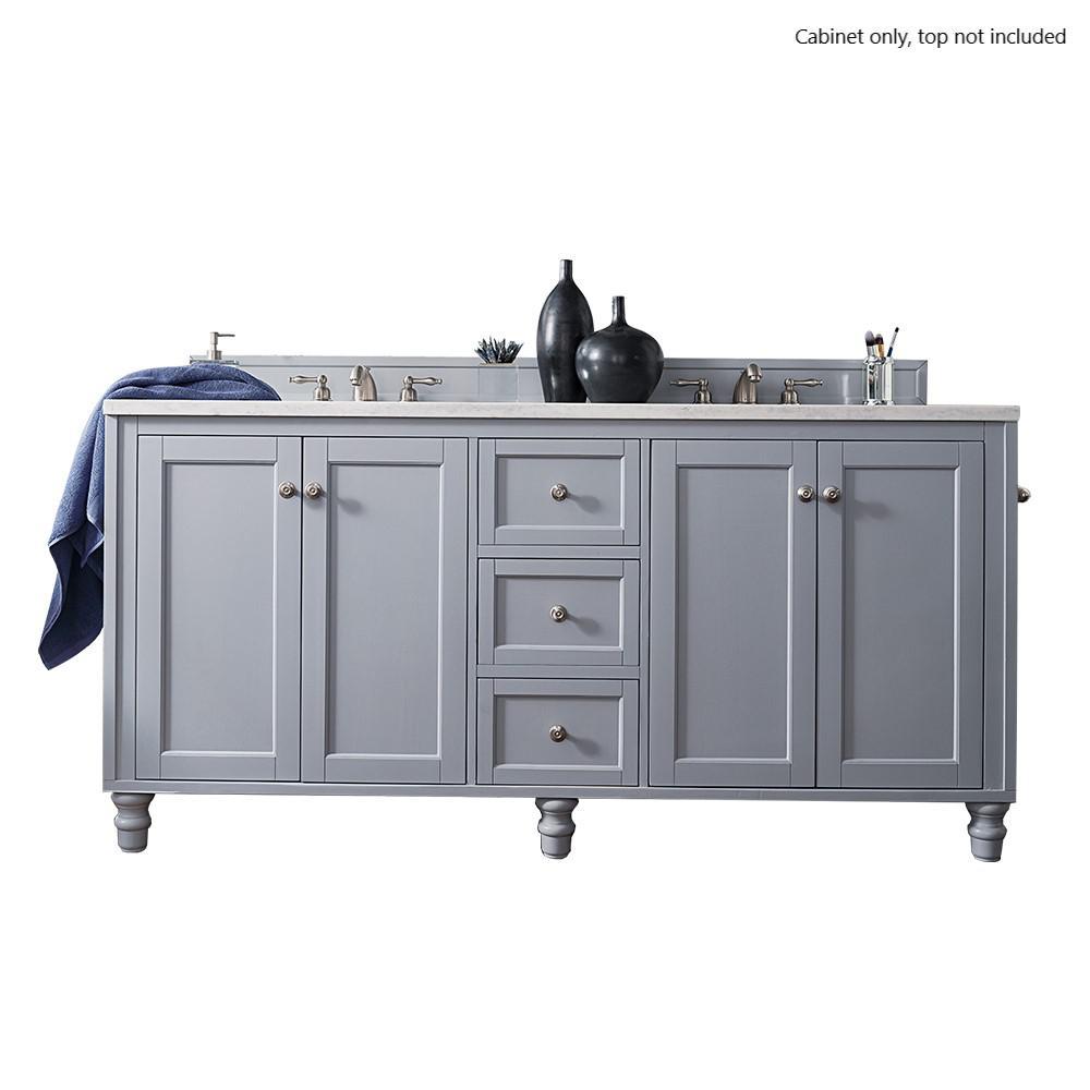 Copper Cove Encore 72 in. W x 23.25 in. D Vanity Cabinet in Silver Gray