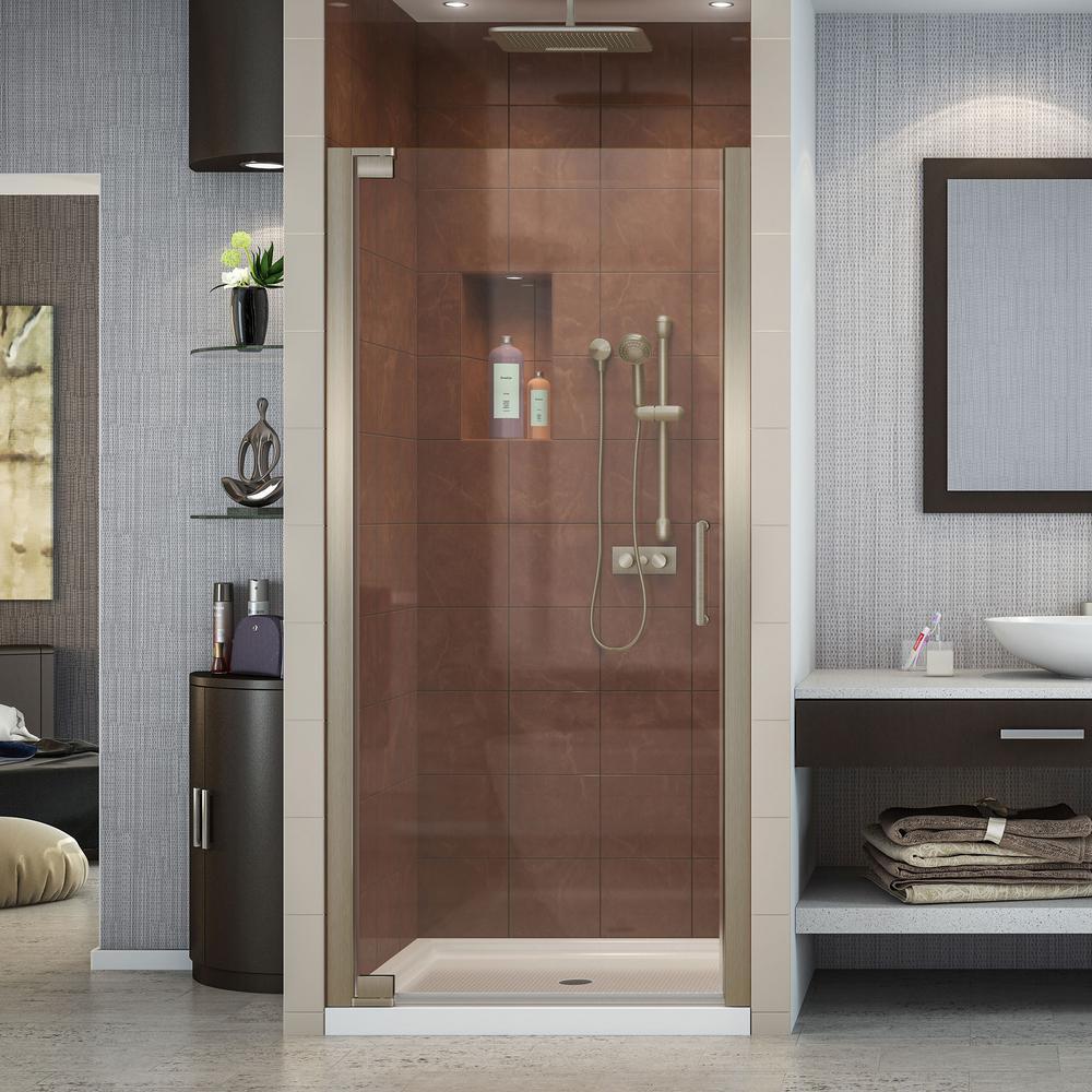Elegance 32 in. x 32 in. x 74.75 in. Semi-Frameless Pivot Shower Door in Brushed Nickel and Center Drain Shower Base