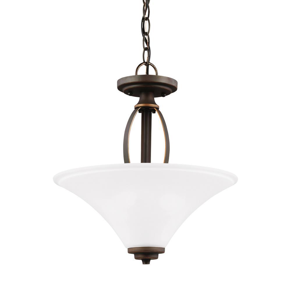 Metcalf 2-Light Autumn Bronze Semi-Flushmount Convertible Pendant with LED Bulbs