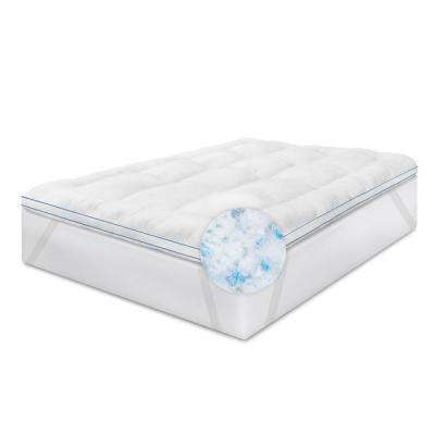 Memory Plus 3 in. Queen Memory Foam and Fiber Mattress Pad