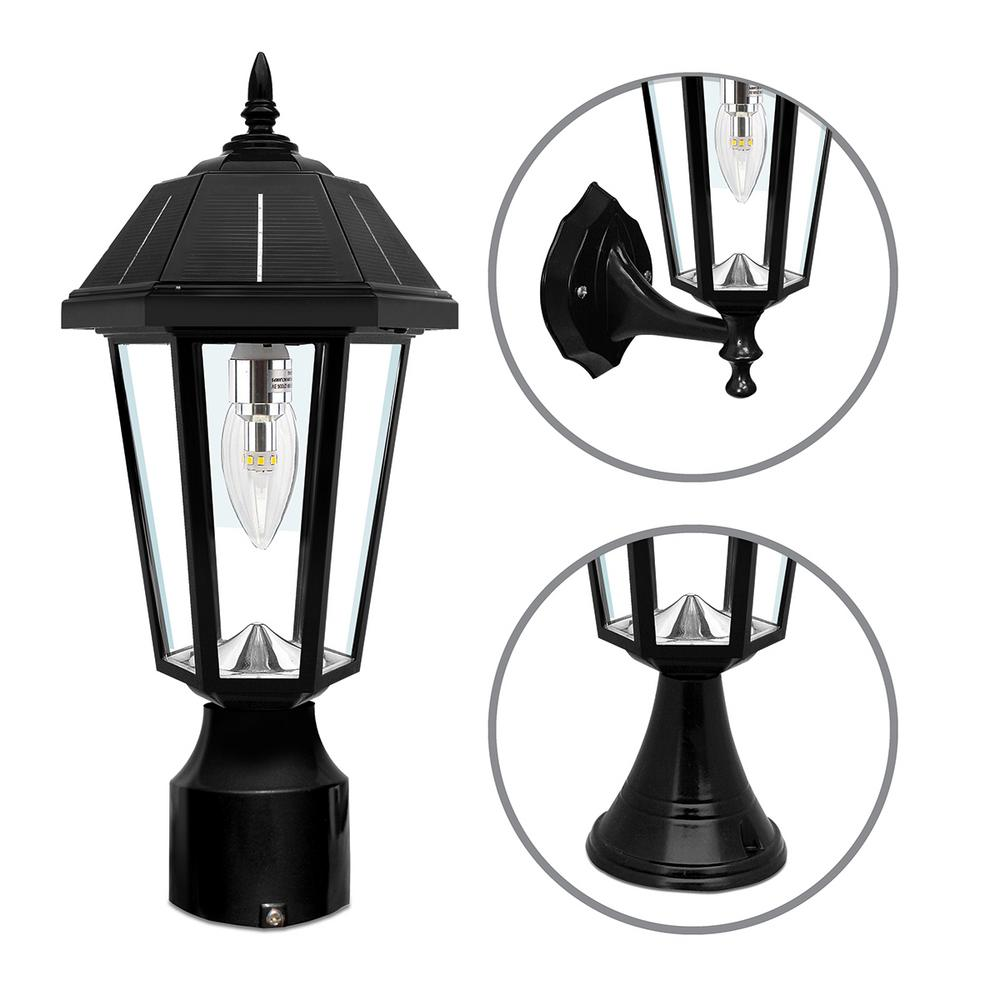 Gama Sonic Topaz Outdoor Black Solar Integrated Led Post Light With 3 Mounting Options And Gs Bulb