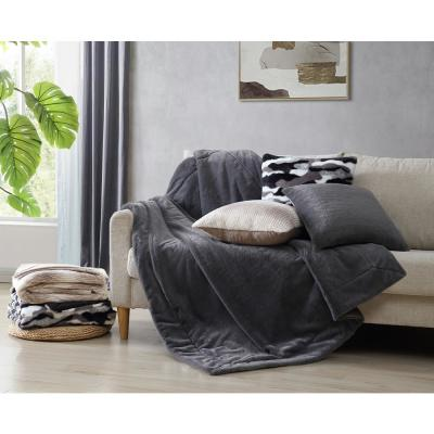 MHF Home Black and White Evelyn Faux Fur 50 in. x 60 in. Throw Blanket