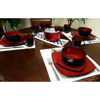 Soho Lounge Red Square 16-Piece Red Dinnerware Set