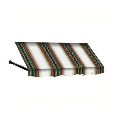 8 ft. Dallas Retro Window/Entry Awning (31 in. H x 24 in. D) in Burgundy/Forest/Tan Stripe