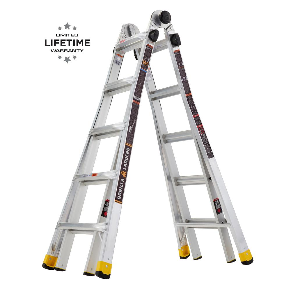 Gorilla Ladders 22 Ft Reach Mpxa Aluminum Multi Position Ladder With 300 Lbs Load Capacity Type Ia Duty Rating Glmpxa 22 The Home Depot