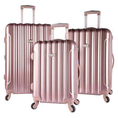 3-Piece Rose Gold Expandable Hardside Vertical Luggage Set with Spinner Wheels