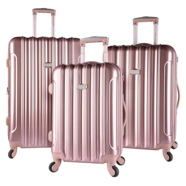Kensie 3-Piece Rose Gold Expandable Hardside Vertical Luggage Set with Spinner