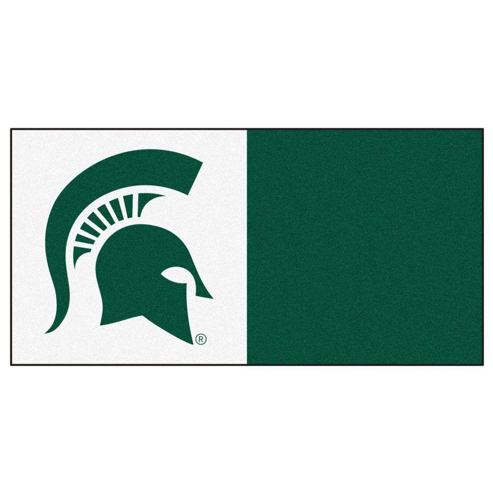 FANMATS NCAA - Michigan State University White and Green Nylon 18 in. x 18 in. Carpet Tile (20 Tiles/Case)