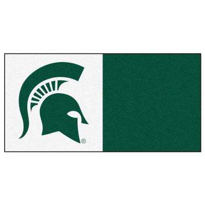 NCAA - Michigan State University White and Green Nylon 18 in. x 18 in. Carpet Tile (20 Tiles/Case)