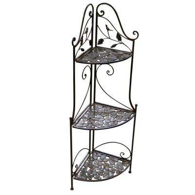 13 in. x 47 in. 3-Tier Metal Corner Plant Rack