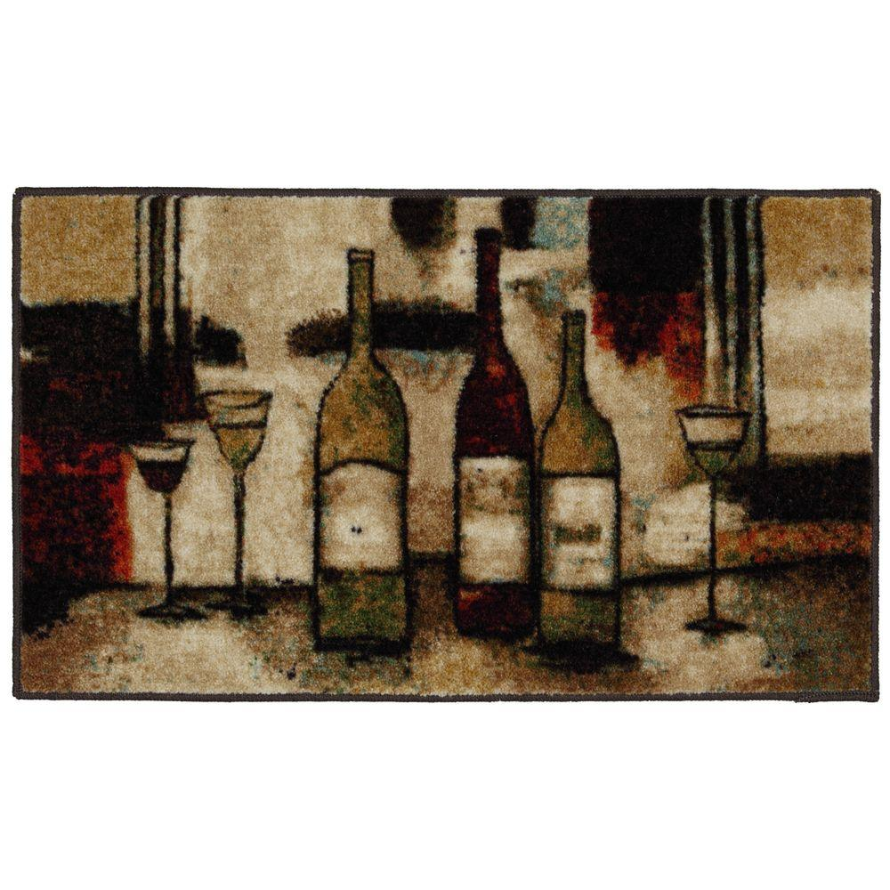 Mohawk Home Wine and Glasses Brown 1 ft. 8 in. x 3 ft. 9 in. Kitchen Rug