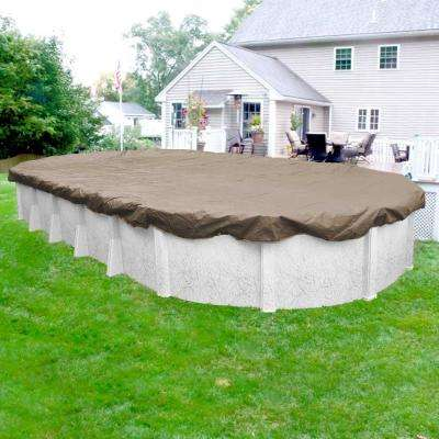 Sandstone 10 ft. x 15 ft. Pool Size Oval Sand Solid Winter Above Ground Pool Cover