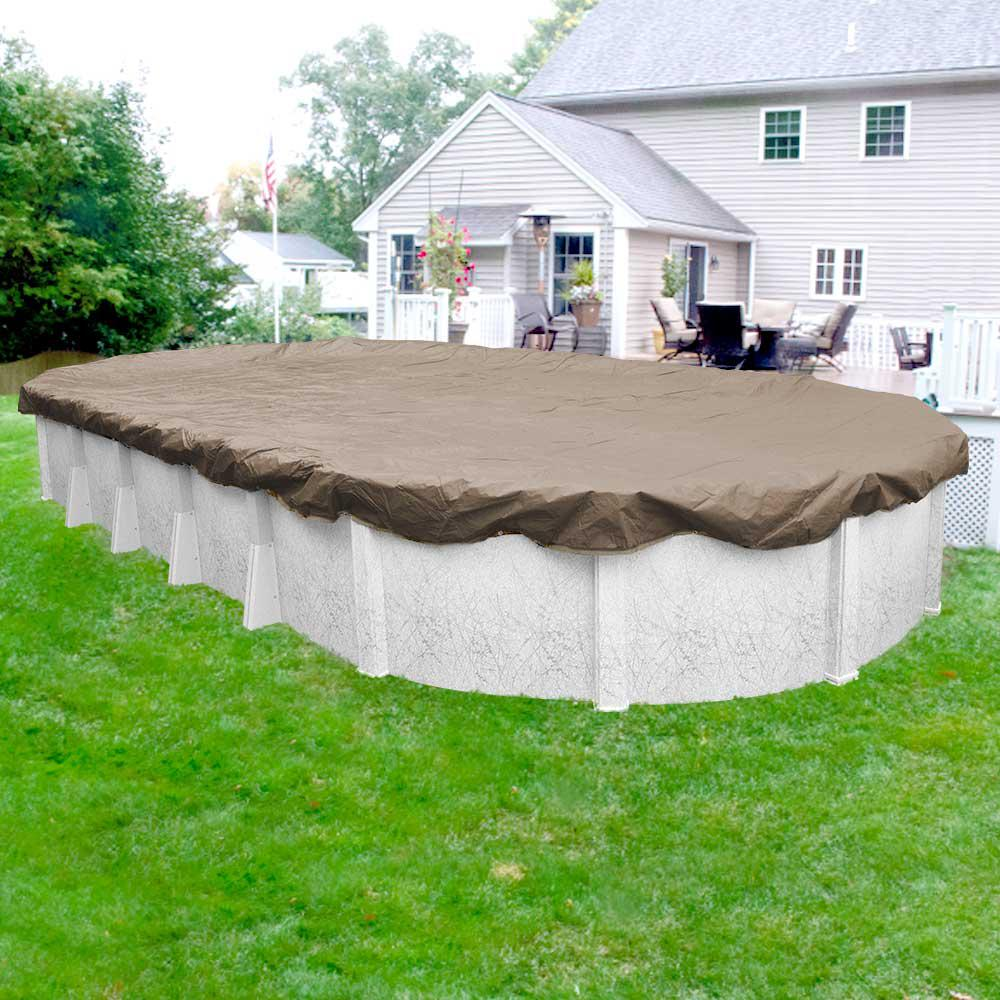Pool Mate Sandstone 12 ft. x 18 ft. Oval Sand Solid Above Ground Winter Pool Cover
