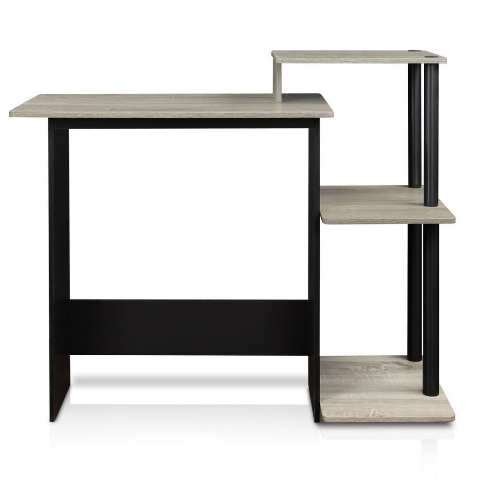 furinno efficient french oak grey and black home computer desk with