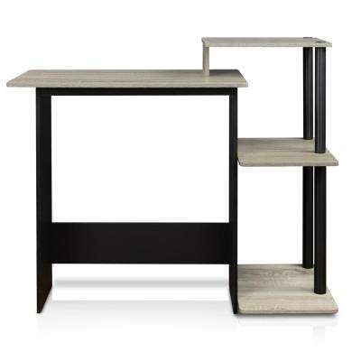 Efficient French Oak Grey and Black Home Computer Desk with Shelves
