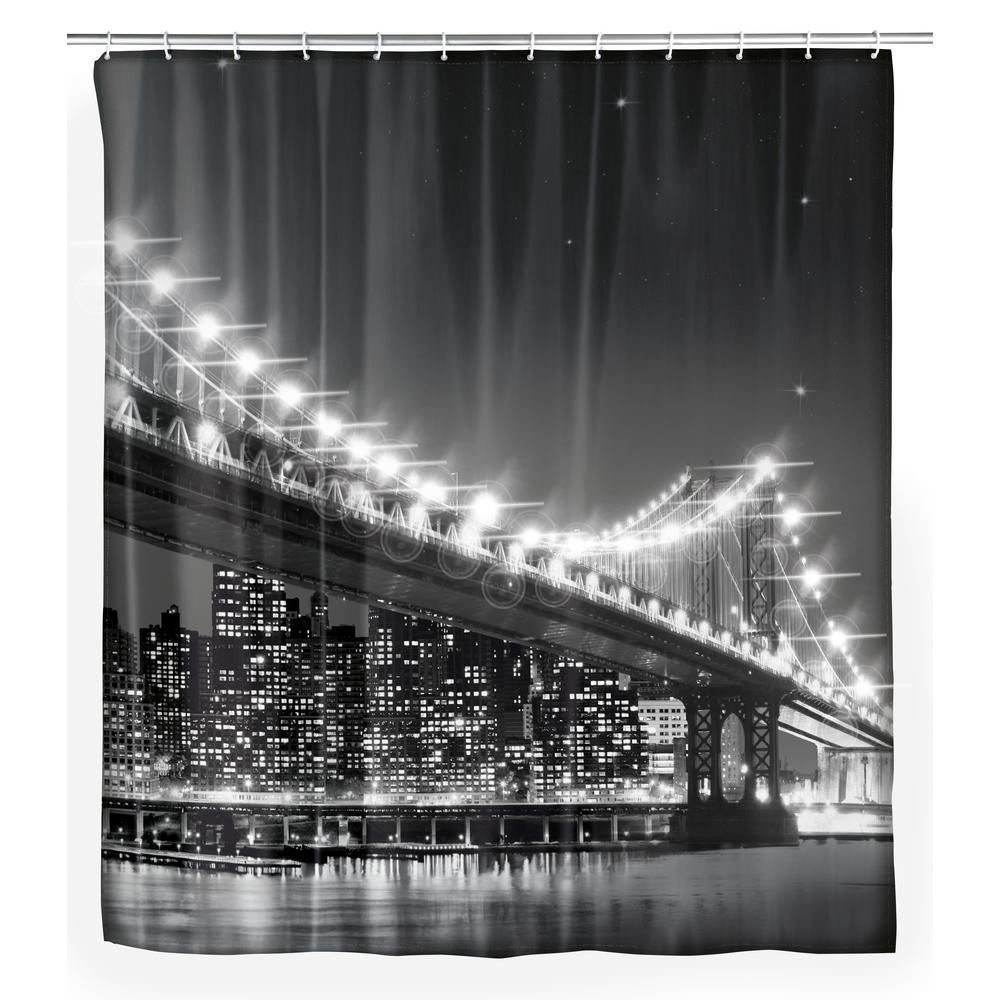 70.9 in. x 78.75 in. Brooklyn Bridge LED Shower Curtain