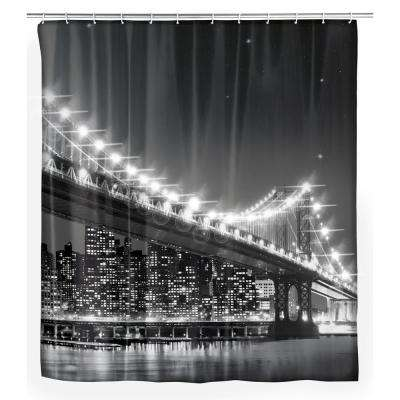 70.9 in. x 78.75 in. Brooklyn Bridge LED Shower Curtain
