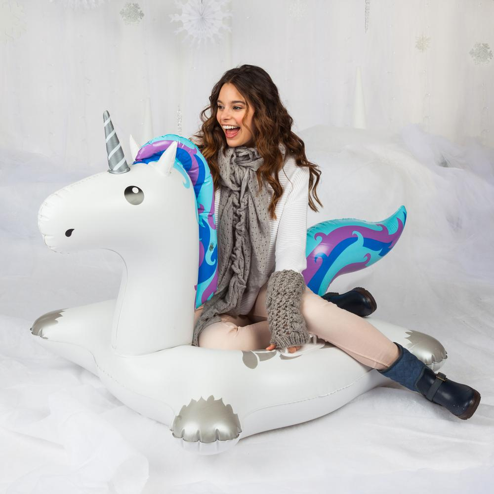BigMouth Inc. 60 in. L Round Vinyl Inflatable Winter Unicorn Snow Tube, Multi