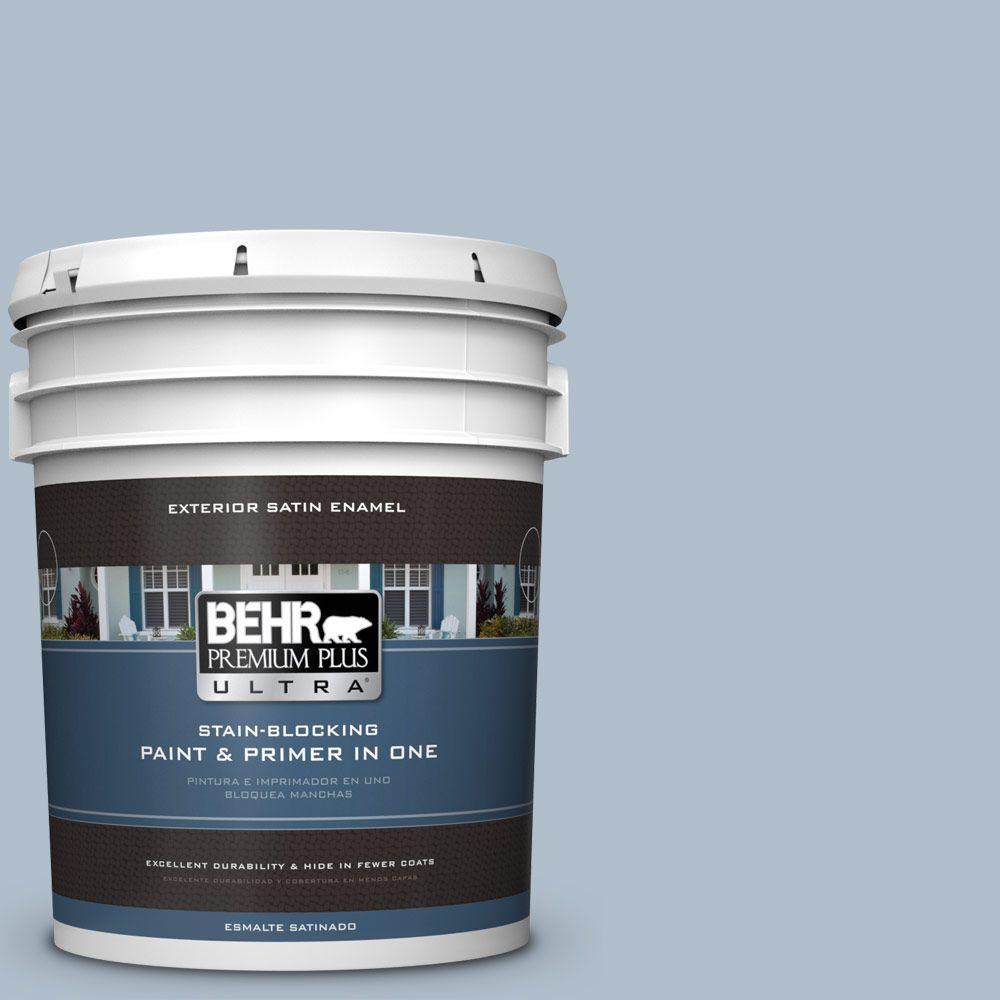 BEHR Premium Plus Ultra 5-gal. #570E-3 Liberty Gray Satin Enamel Exterior Paint, Blues