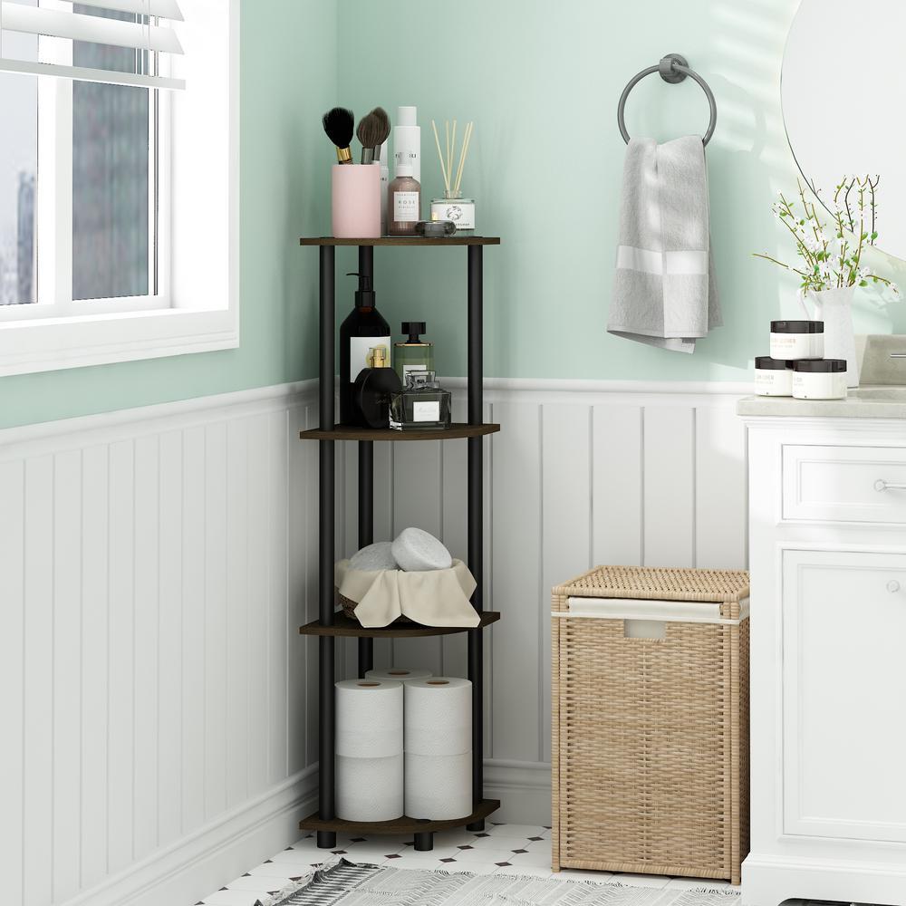 43.5 in. Dark Brown/Black Plastic 4-shelf Corner Bookcase with Open Storage