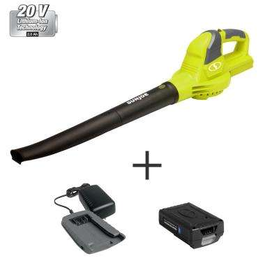 120 MPH 71 CFM 20-Volt Cordless Electric Handheld Leaf Blower and Sweeper Kit with 2.0 Ah Battery + Charger