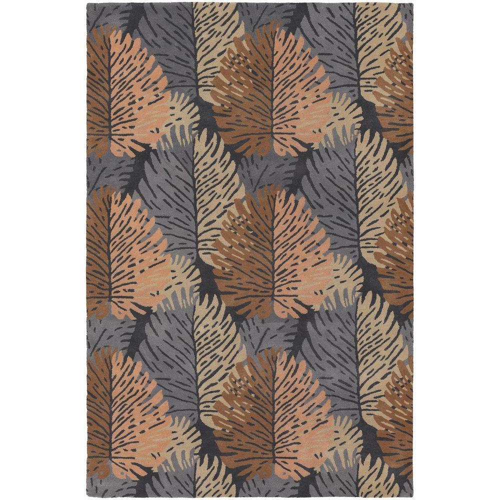 Alfred Shaheen Grey/Salmon/Brown 5 ft. x 7 ft. 6 in. Indoor