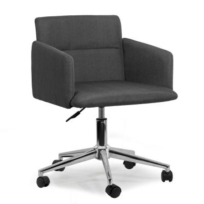 Aila Dark Grey Fabric with Wheel Base Upholstered Swivel Office Chair