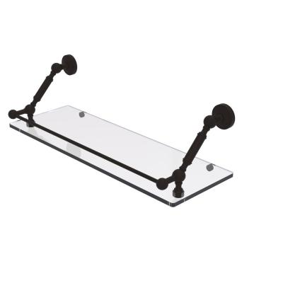 Waverly Place 24 in. Floating Glass Shelf with Gallery Rail in Oil Rubbed Bronze