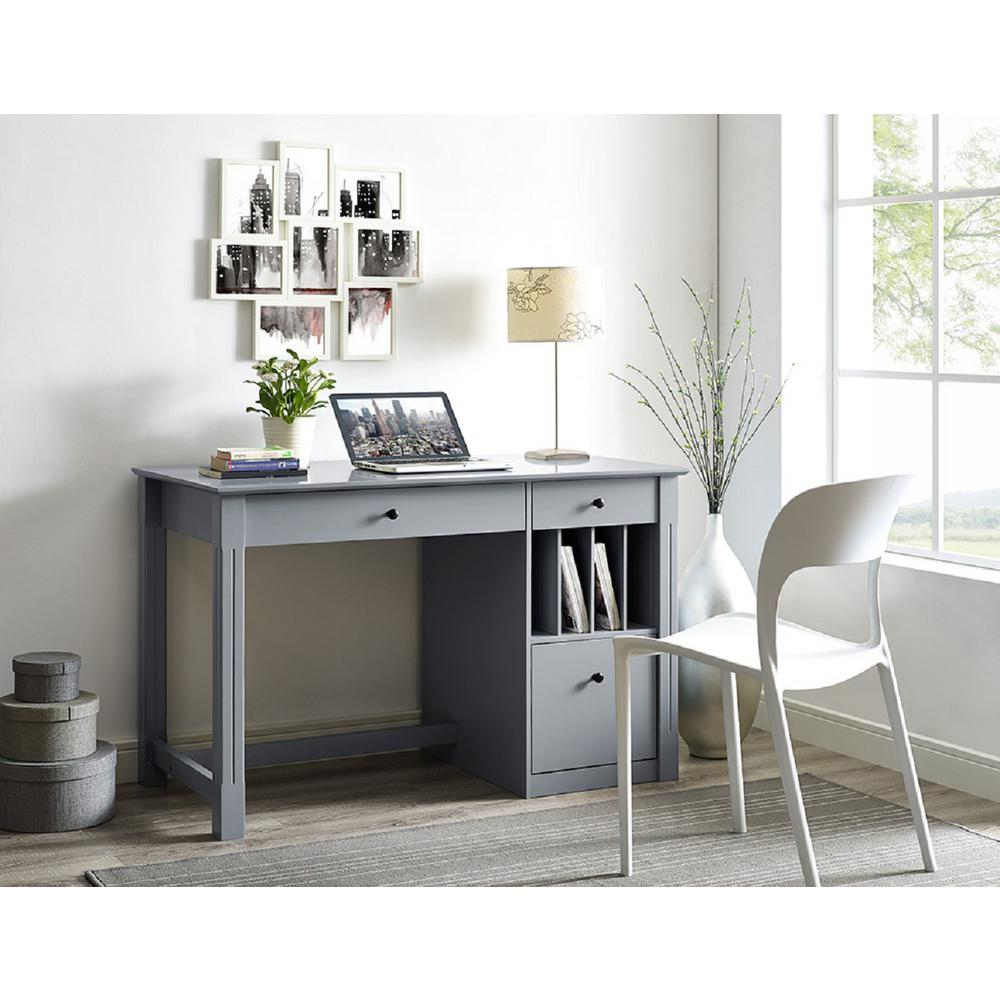 Walker Edison Furniture Company Home Office Deluxe Grey Wood Storage Computer  Desk HDW48D30GY   The Home Depot