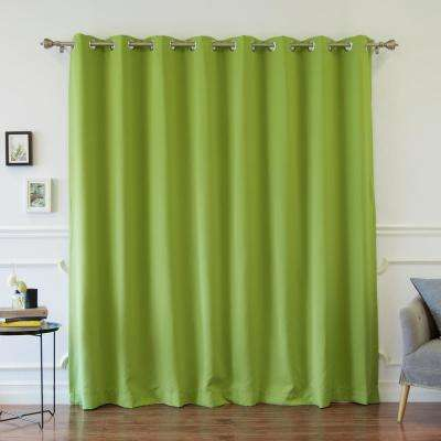 Wide Width Basic Silver 100 in. W x 84 in. L Grommet Blackout Curtain in Green