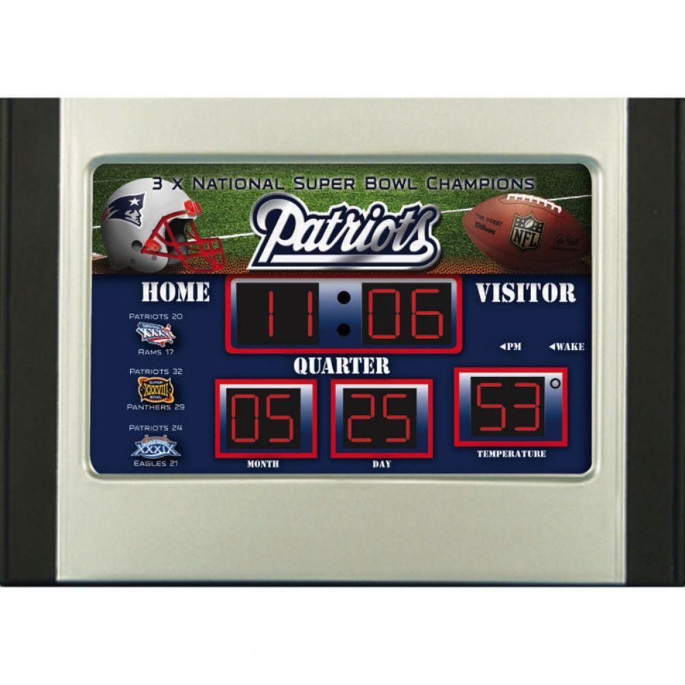null New England Patriots 6.5 in. x 9 in. Scoreboard Alarm Clock with Temperature