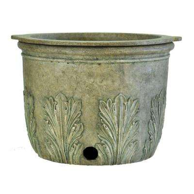 22 in. Round Granite Cast Stone Hose Pot and Planter