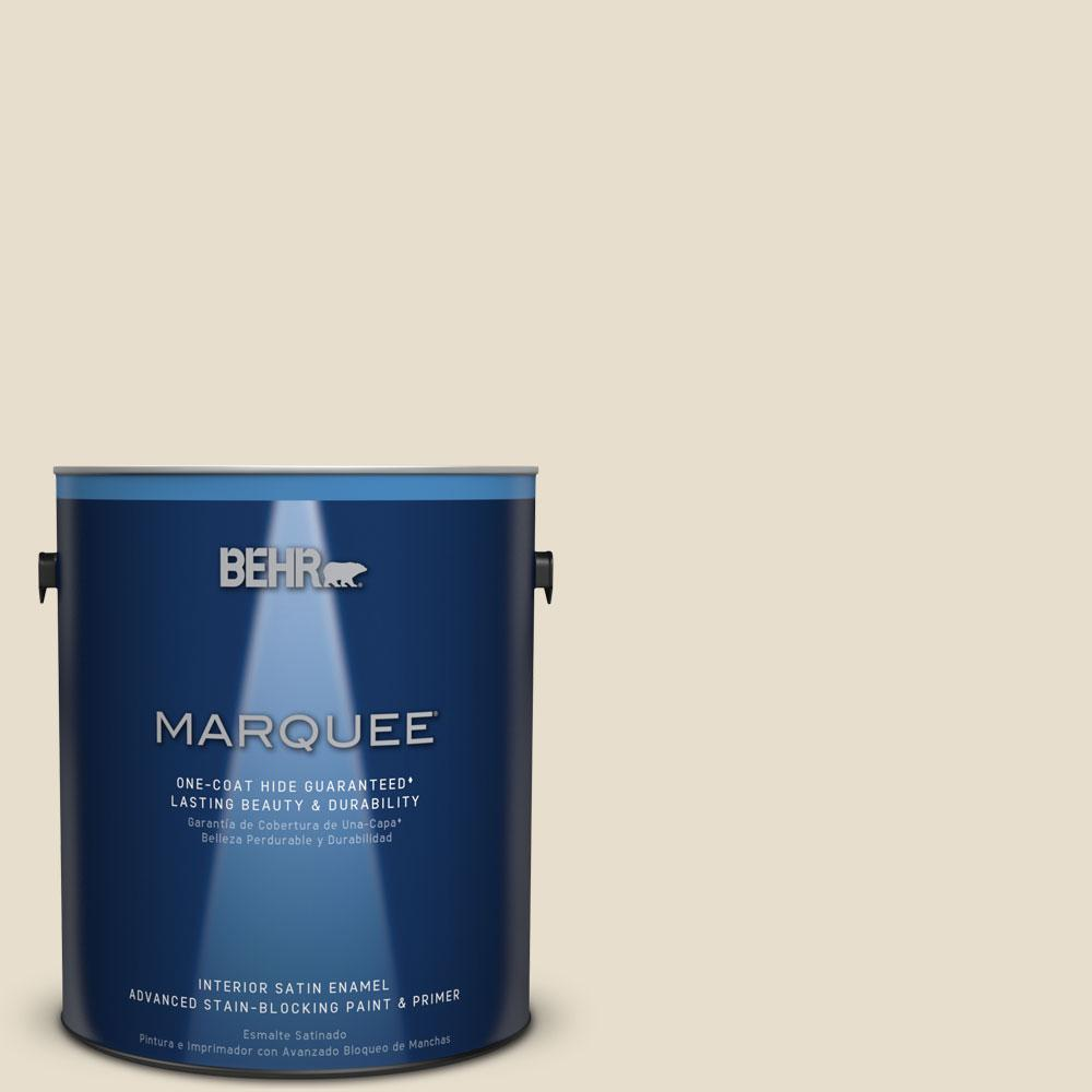 1 gal. #MQ3-12 Ivory Paper One-Coat Hide Satin Enamel Interior Paint
