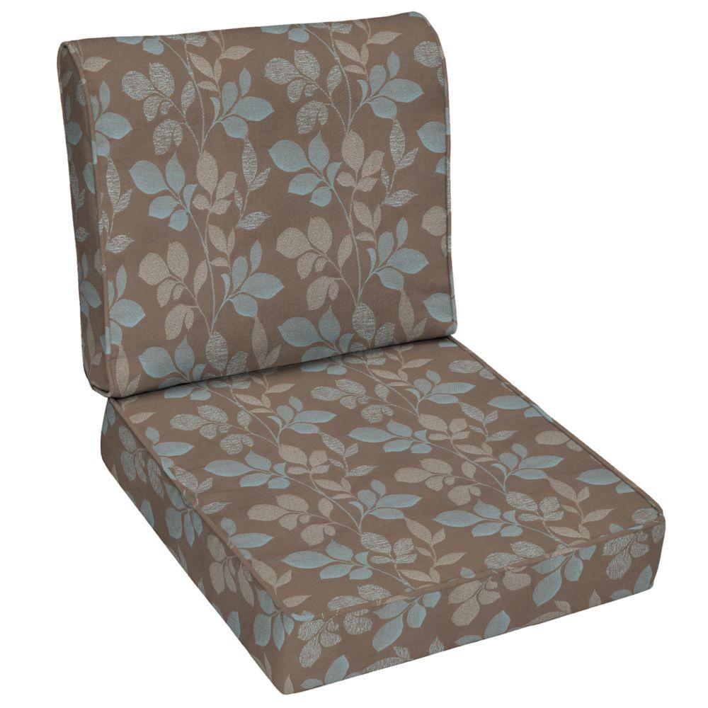 Hampton Bay Blush Botanical Outdoor Deep Seat Cushion Set-DISCONTINUED
