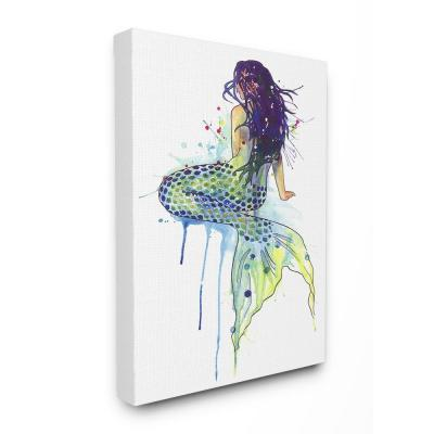 """16 in. x 20 in. """"Dripping Watercolor Mermaid with Her Back Turned"""" by Nagel Mermaid Canvas Wall Art"""